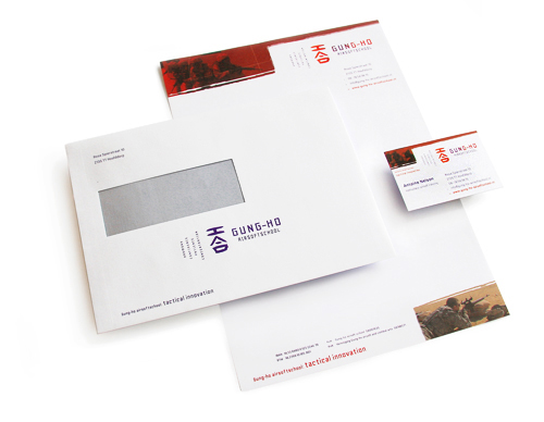 Huisstijl van Gung-ho Airsoftschool te Hoofddorp. Briefpapier, enveloppe en visitekaartje
