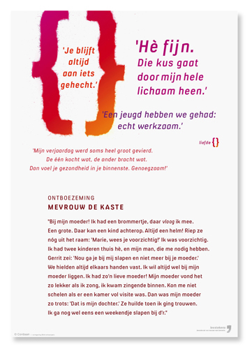 tekstpaneel voor expositie Leestekens, stichting Cordaan. Met thema-logo gescheurd uit papier en digitaal bewerkt.